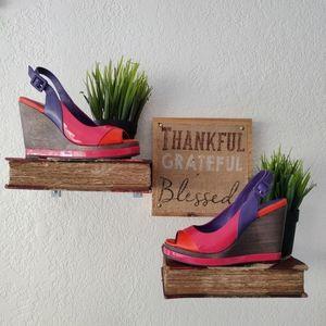 Boden 💜 Leather Colorblock Slingback Heel Sandals